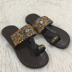 R.I.M brown leather beaded sandals